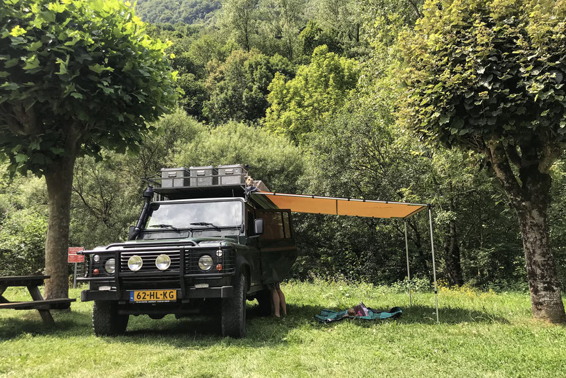 Land Rover Defender with awning. A perfect setup to relax.