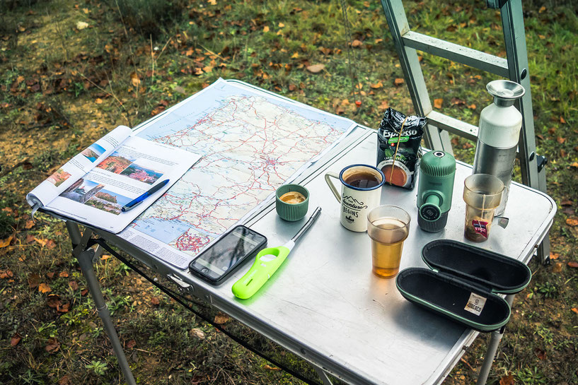 Overland route planning starts with an espresso from the Wacaco Nanopresso