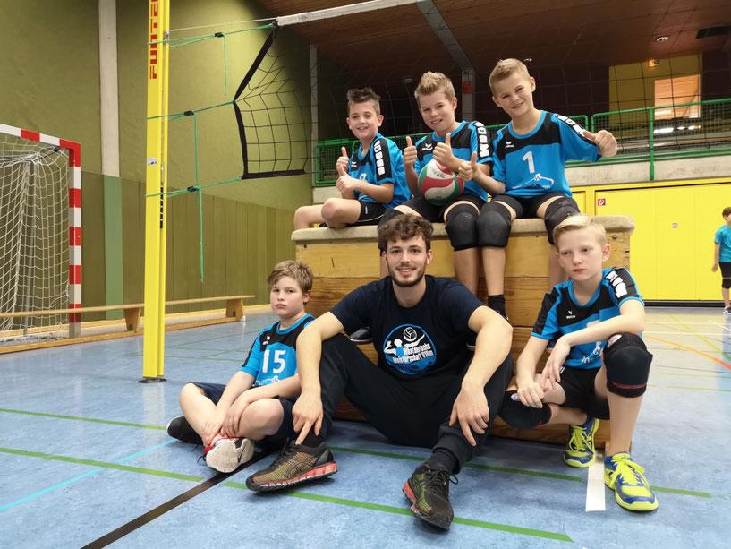 mU13 2018/2019,  Tjalt, Philipp, Silas, Nils und Ben, Trainer Louis Wieczorek