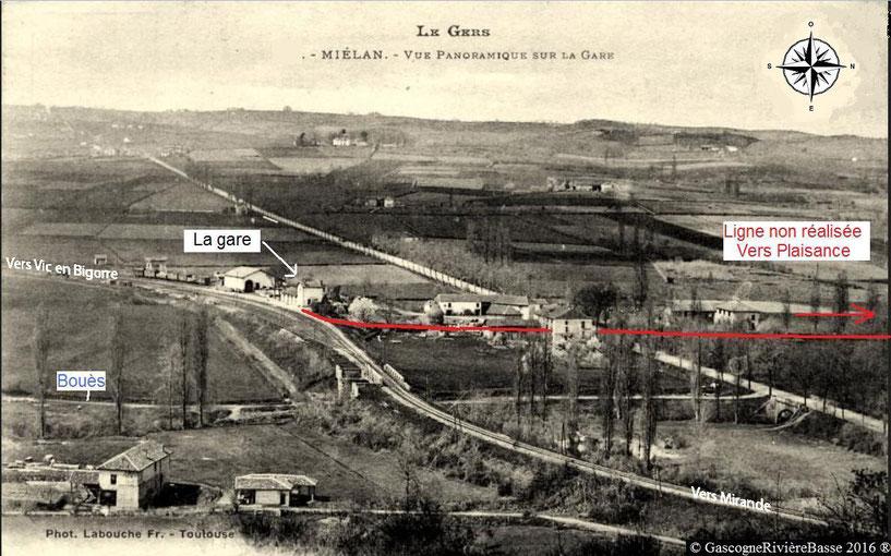 Gare de Miélan Rivière Basse train chemin de fer Plaisance du Gers Marciac Tillac