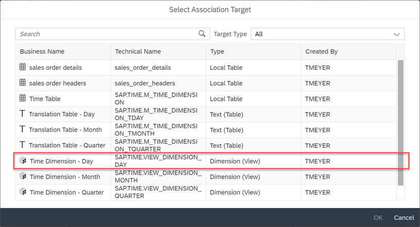 SAP Data Warehouse Cloud Select association target
