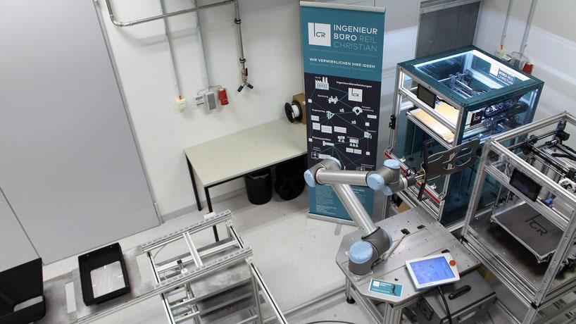 Voll automatisierte 3D-Druck Serienfertigung mit Roboter ausgestattete Printing-Farm