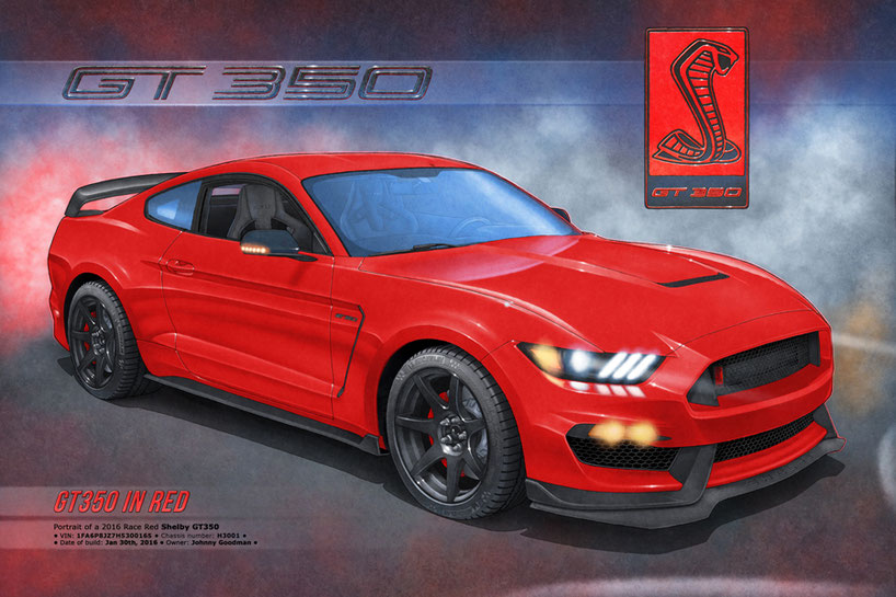 Drawn portrait of the Shelby GT350R by Alain Lemire