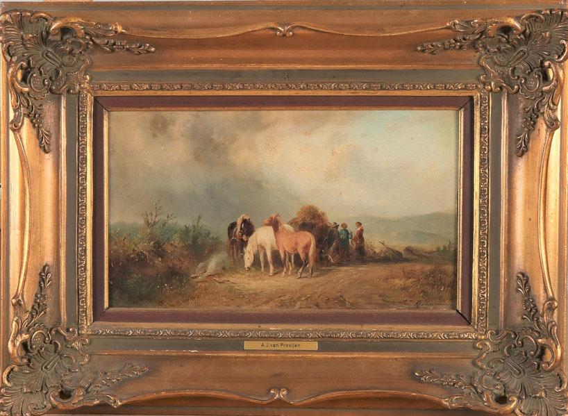 te_koop_aangeboden_een_schilderij_met_paarden_en_figuren_van_de_nederlandse_kunstschilder_albert_jurardus_van_prooijen_1834-1898_hollandse_romantiek_19e_eeuw
