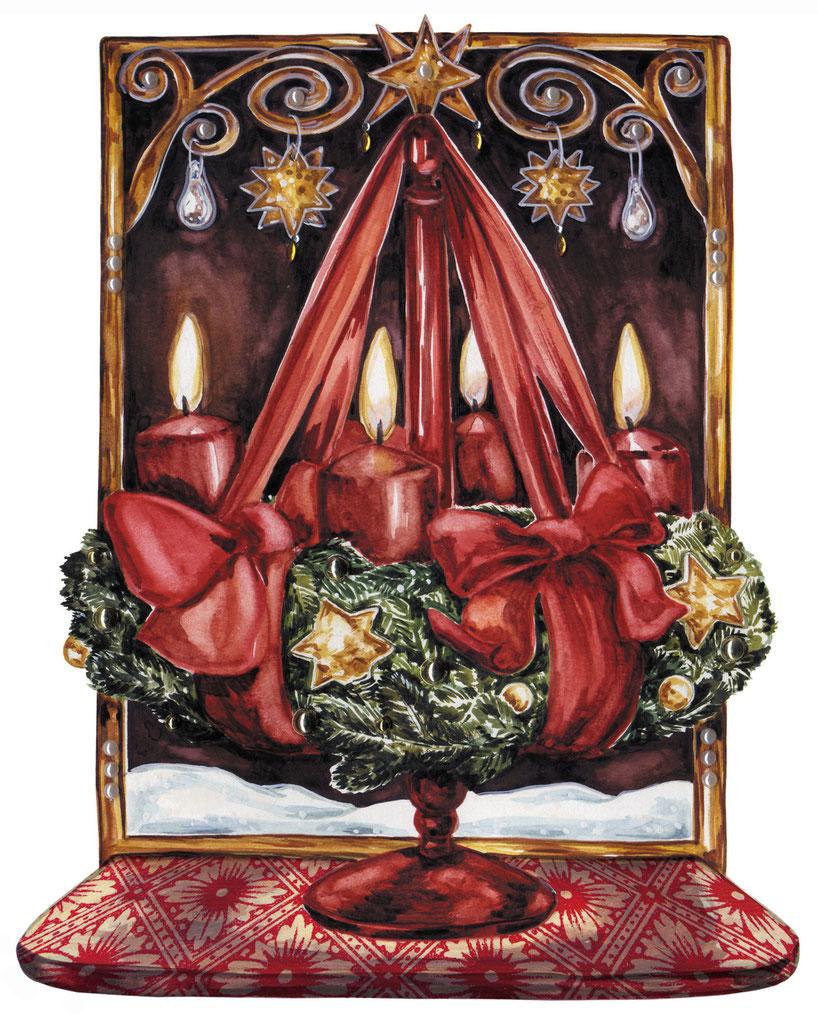 """Adventskranz Illustration Caroline Ronnefeldt aus """"Hausbuch zur Weihnachtszeit"""" ars Edition 2012"""