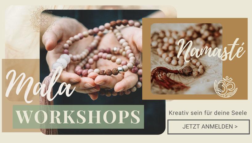 Neue Workshopdaten für die Mala Workshops in Hinwil bei Zürich (Schweiz). Deine Mala selber machen! Lass dich von der Spiritualiät leiten. Ob als Schmuckstück oder in deiner Yogastunde zum rezitieren deines Mantra, sie wird dich auf deinem Weg begleiten.