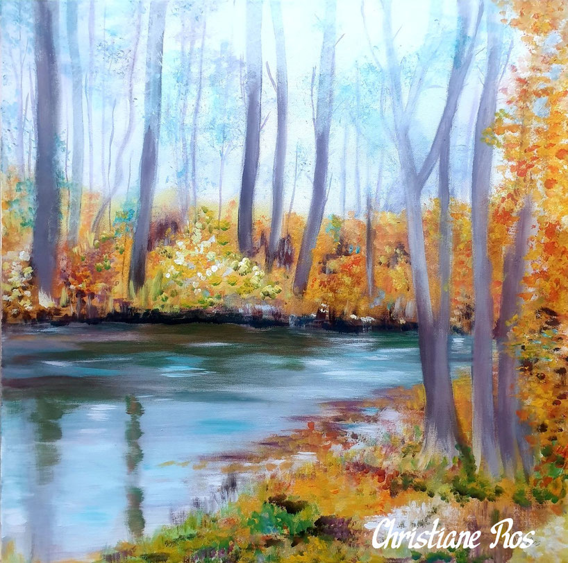 gemaltes Bild Herbstwald Bad Urach © Christiane Ros