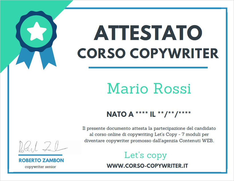 Attestato Let's Copy