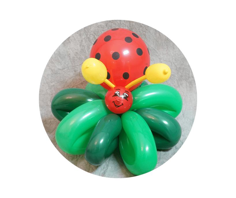 Ballonmodellage bei Entertainment for Kids. Ein Marienkäfer aus Luftballons mit einem niedlichen Gesicht.