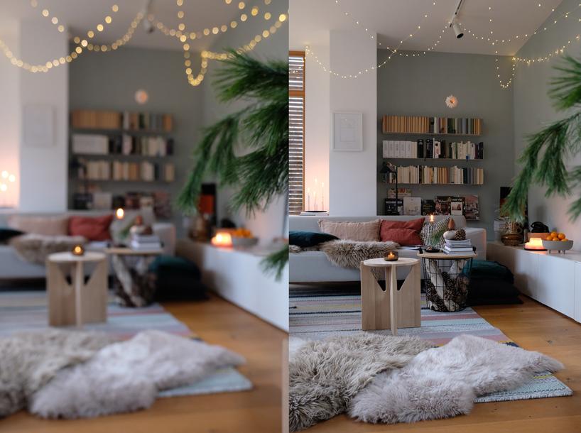 dieartigeBLOG // Wohnzimmer, Sofaecke im Winter - Sofa Freistil, Teppich Ikea, Bücherregal Teebooks