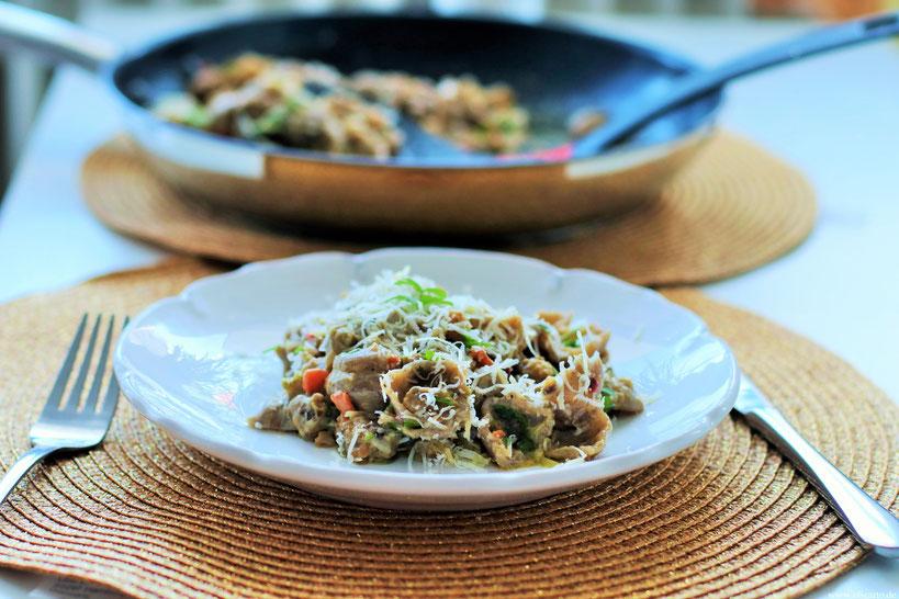 Maronenragout mit Buchweizen Pasta Oligarto Rezepte Glutenfei Fleischlos