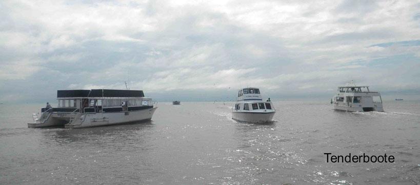 Es wird mit einheimischen Booten getendert