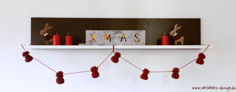 Süße Mützen-Girlande - eine kostenlose Anleitung, für eine tolle Winterdekoration!