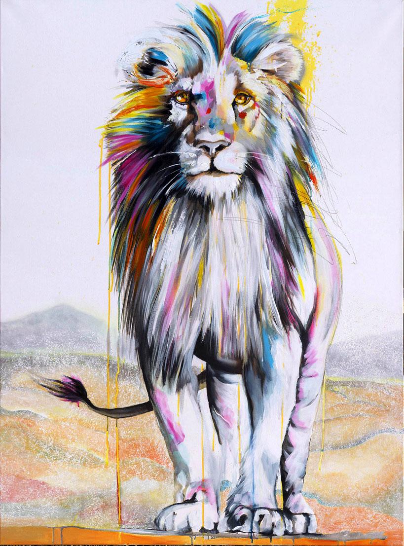 Lion 160 x 120 cm l'Original est vendu toutefois ce sujet est réalisable en reproduction sur toile en édition limitée à 30 exemplaires