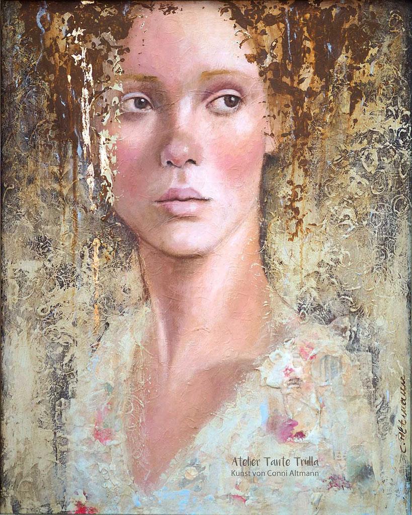 Acryl-Gemälde Portrait Frau mit viel Textur und etwas Blattgold