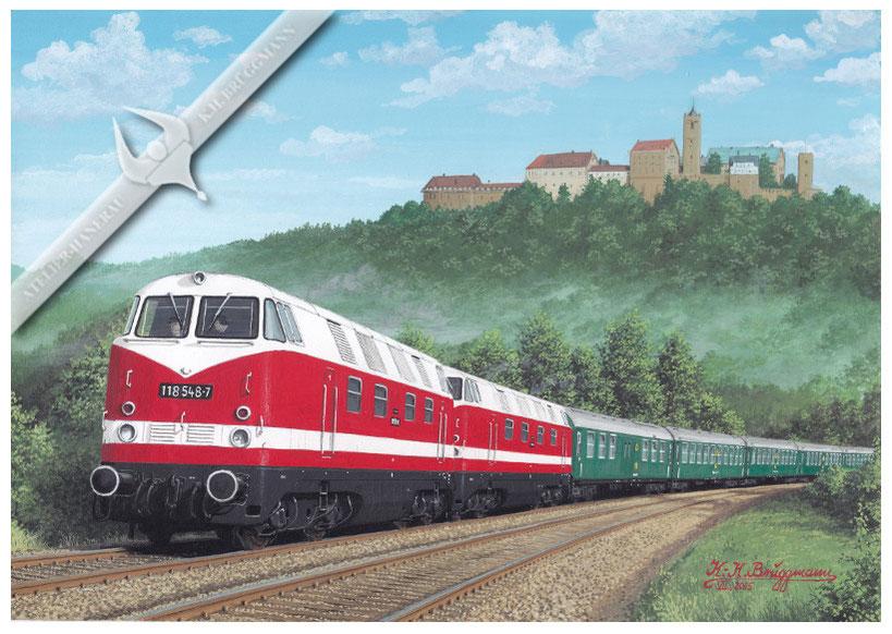 Dieselloks DR 118 548 u, 118 550 mit DDR Staatszug vor der Wartburg, 70er Jahre, Aquarell.