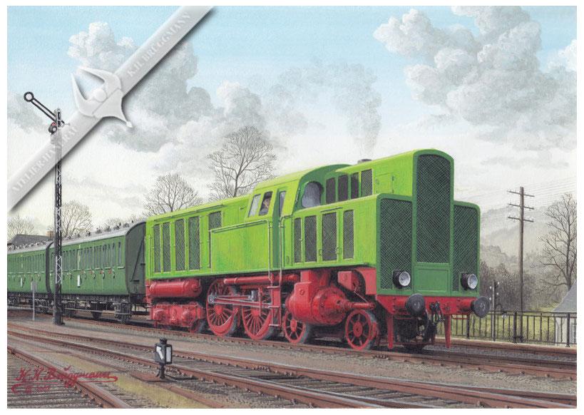 Deutz Diesellok Bj. 1933, im Dienst der DRG, 30er Jahre. Der liegende 3 Zylinder Dieselmotor, hatte die gleiche Anordnung und Funktionsweise, wie die Dampfzylinder einer 3 Zylinder-Dampflokomotive
