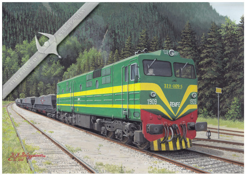 Diesellok RENFE 319-009 mit Schotterzug in Valencia-Canfranc, 80er Jahre