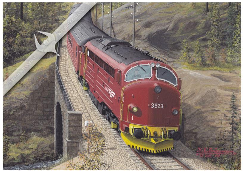 NOHAB Diesellok NSB 623 auf der Raumabahn in den 90ern, Aquarell