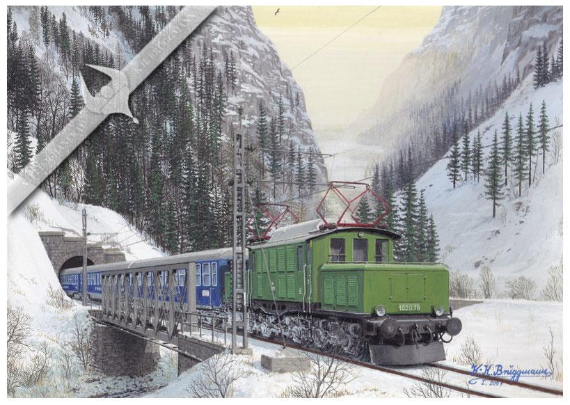 E-Lok ÖBB 1020 mit Reisebürosonderzug auf der Arlbergbahn, 1960, Aquarell