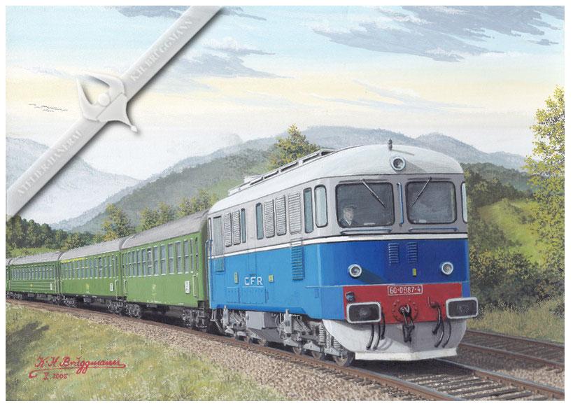 Diesellok CFR 060 mit Schnellzug im Olt-Tal 1974