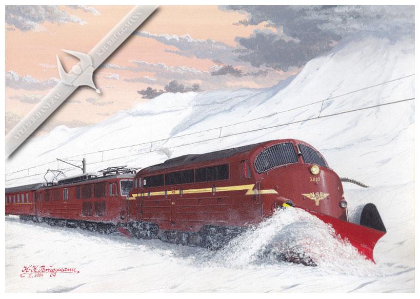 NOHAB Diesellok NSB 610 mit Schneepflug unterstützt eine EL 14 auf der Bergenbahn in den 80ern, Aquarell.