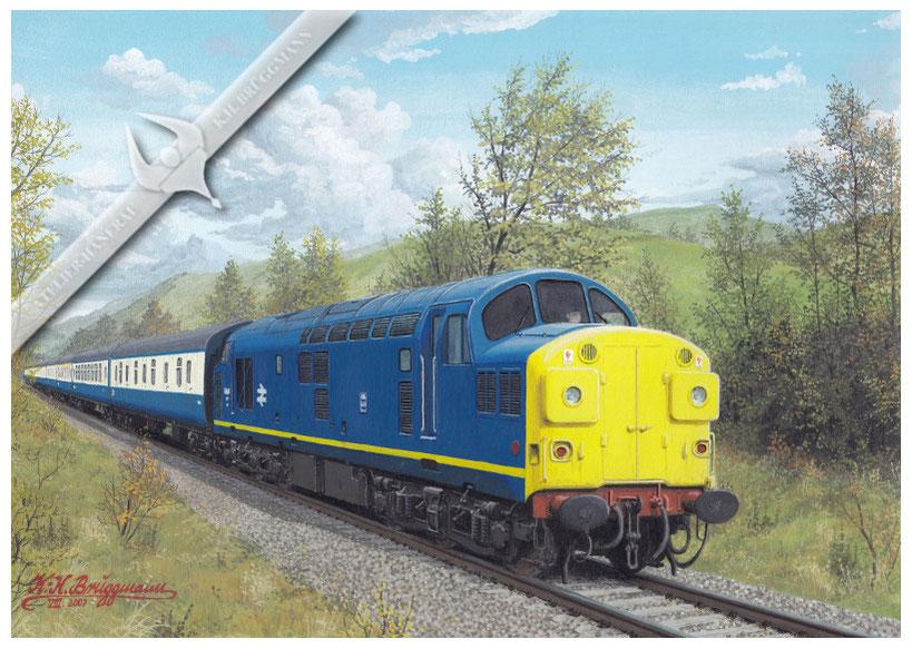 Diesellok BR 37037 auf der Strecke Oban-Glasgow, 80er Jahre