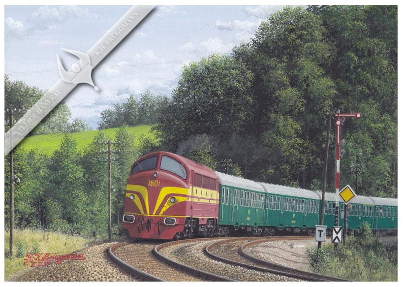 AFB Diesellok, CFL 1601 mit Reisezug auf der Nordbahn in den 70ern, Aquarell.
