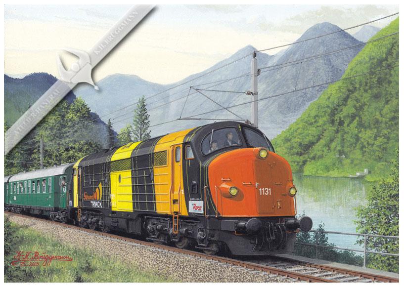 NOHAB Diesellok Roco Sound-Track-Nohab, als Originallok mit Sonderzug am Hallstätter See, Österreich, Aquarell.