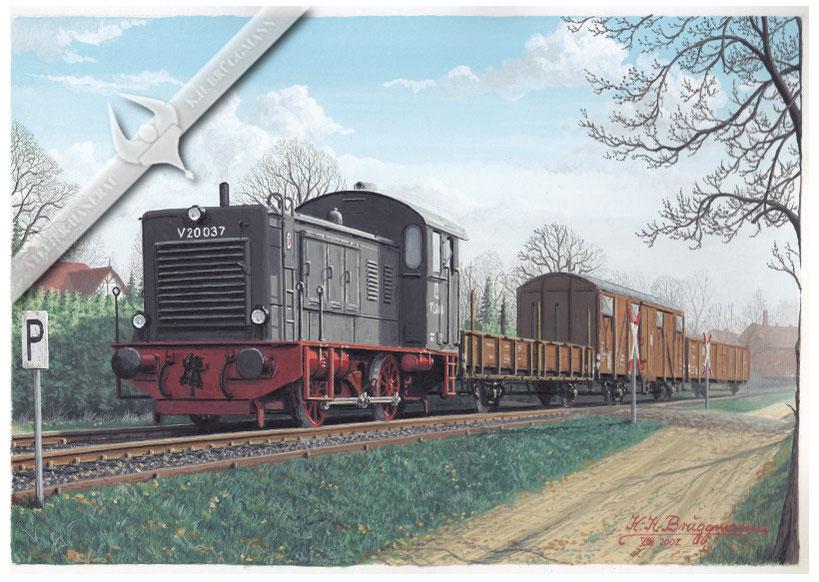 V 20 037, Stammlok in Glückstadt, auf der Hafenbahn 1963, Aquarell