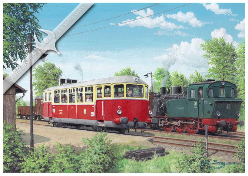 TW 2 trifft Lok 21 auf dem Weg von Schleswig nach Kappeln, Schleswiger Kreisbahn 1960, Aquarell.