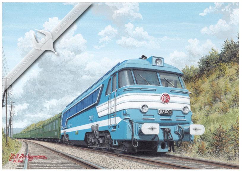 Diesellok SNCF 68 001 mit Reisezug bei Esbly. 1964.