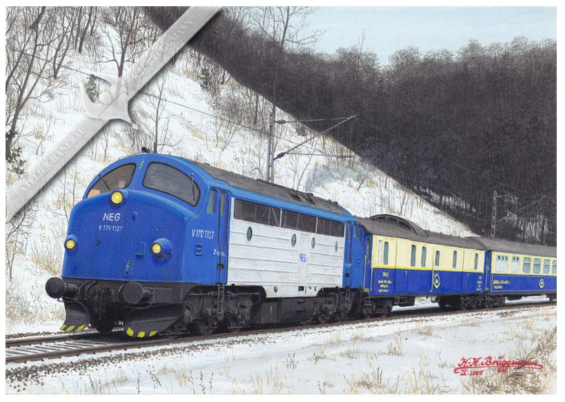 NOHAB Diesellok, NEG V 170 1127 mit Sonderzug bei Stuttgart-Vaihingen, Dez. 2001. Aquarell