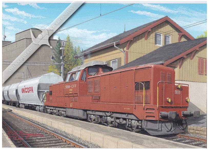 Diesellok SBB Bm 6 / 6, 18511 mit Getreidesilowagen in Talheim bei Winterthur, in den 90er Jahre
