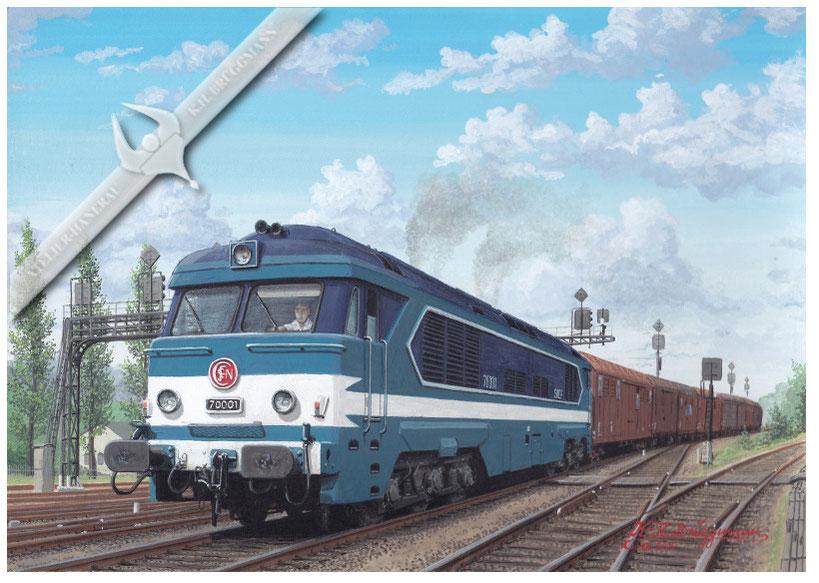 Diesellok SNCF CC 70001, verläßt mit Express-Güterzug einen Rangierbahnhof, 1969