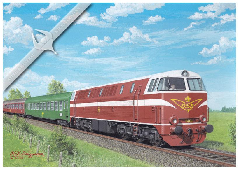 Diesellok DSB Mz 1401 mit Schnellzug Kobenhavn-Hamburg bei Rodby 1970, Aquarell.