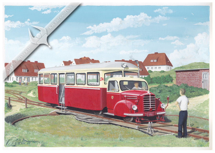 Borgward LT 4 der Sylter Inselbahn in Hörnum 1958, Aquarell.