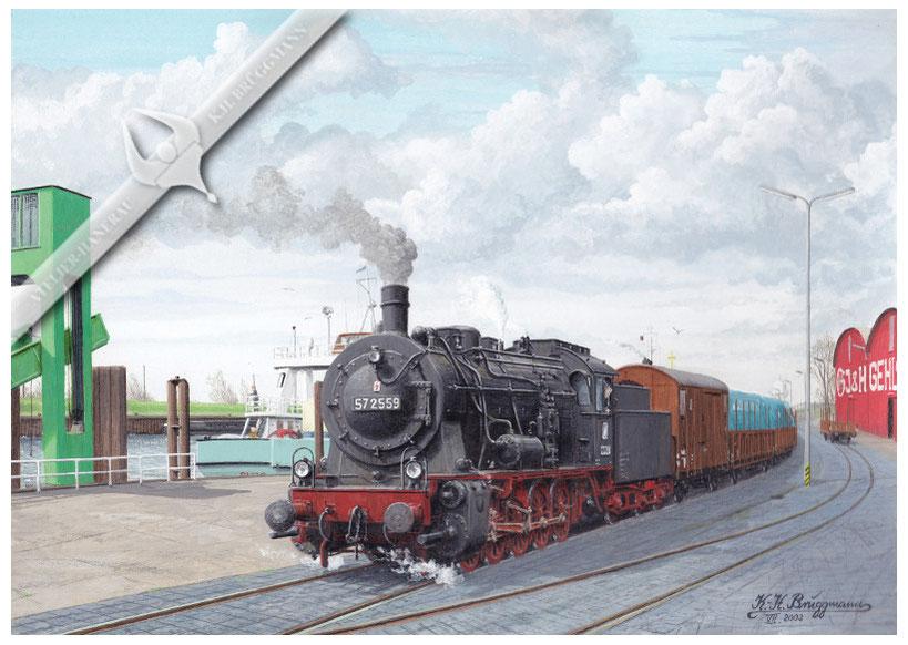 57 2559 auf der Hafenbahn in Glückstadt 1962, Aquarell