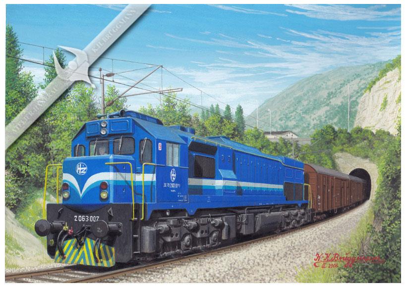 Diesellok HZ 2063 007 mit Güterzug nach Karaeljevo