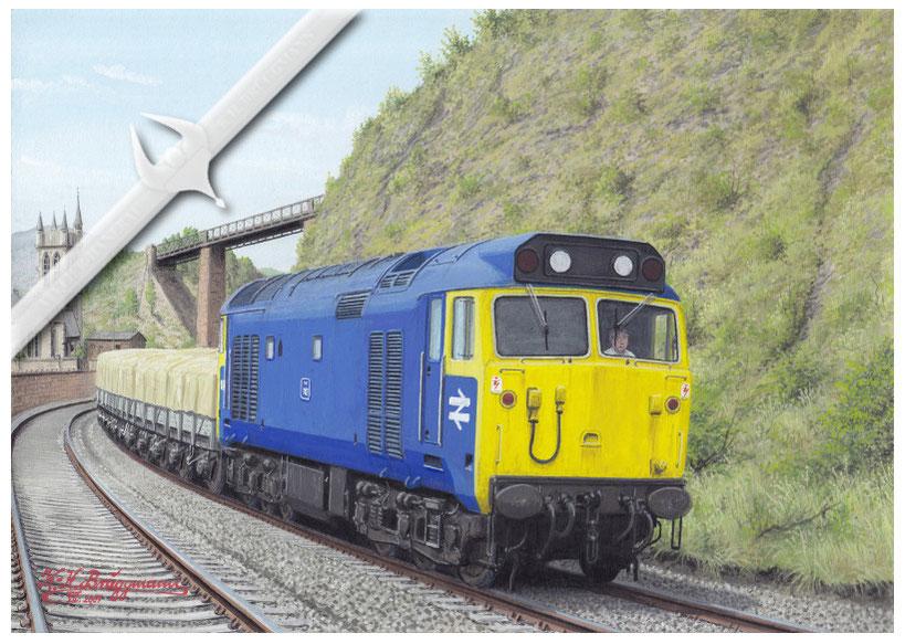 """Diesellok BR 50 043 """"Eagle"""" bei einer der wenigen Güterzugleistungen, Ende der 70er Jahre"""