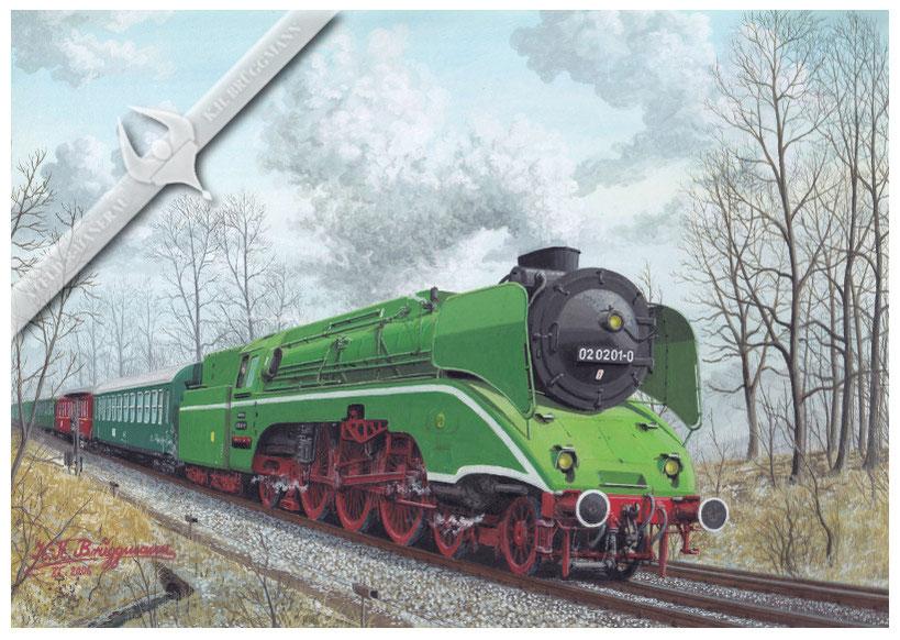 Schnellzugdampflok DR 02 0201 (18 201) mit Sonderzug in den 70ern, Aquarell