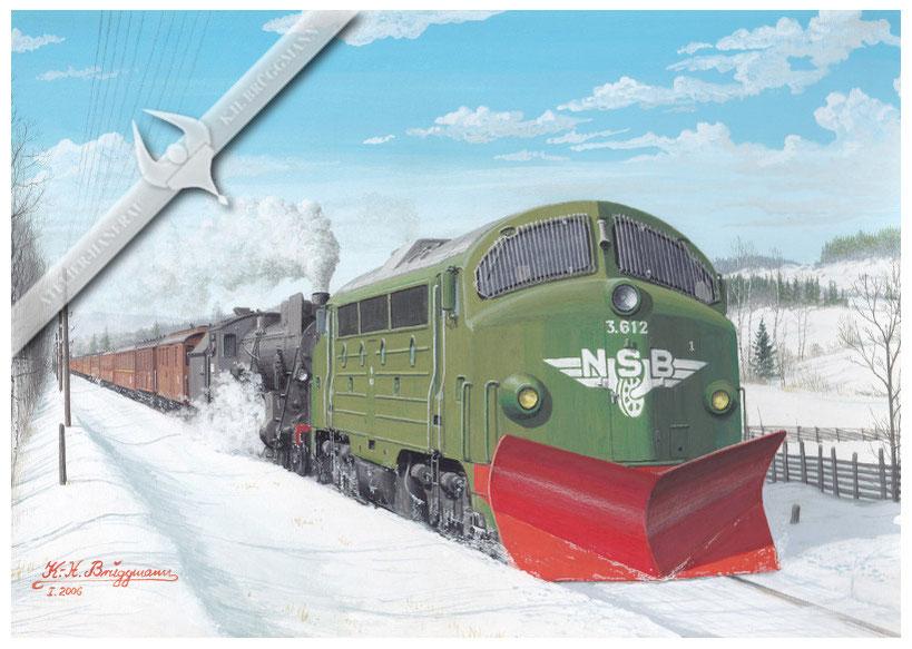 NOHAB Diesellok NSB 612 leistet Vorspanndienst vor 2`D Lok 434 mit Personenzug bei Hamar, Anfang der 60er, Aquarell.