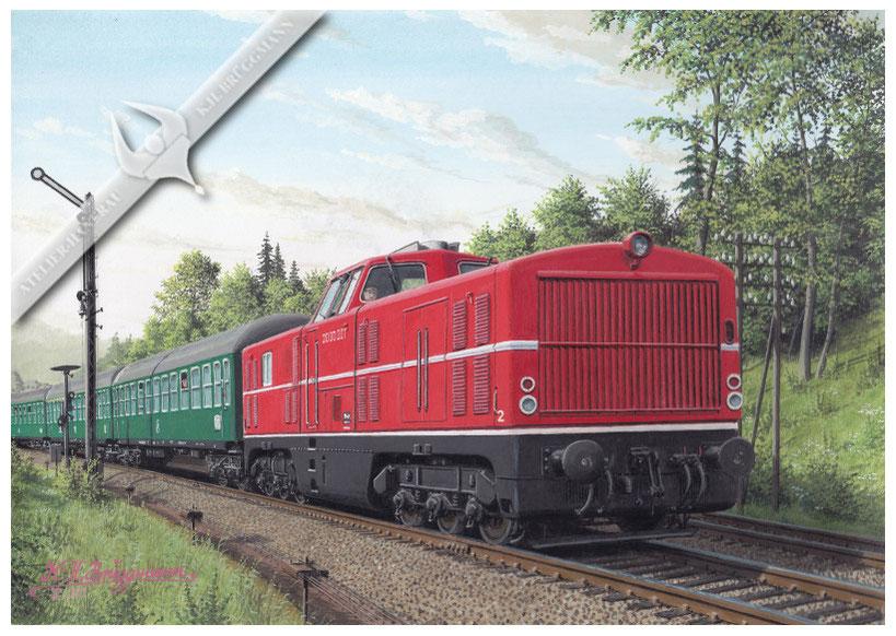 Diesellok MaK 2000 001 Versuchslok im Schnellzugdienst der DB, gegen Ende der 50er Jahre