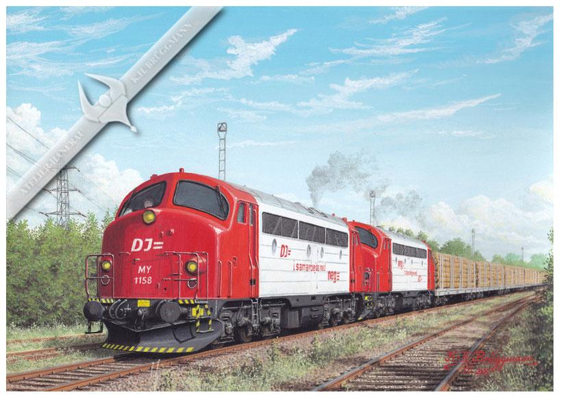 Dieselloks. neg / DJ My 1158 u. 54 mit Holztransport in Tondern, 2005 Aquarell.  Ich danke der neg - Niebüll für die freundliche Unterstützung.