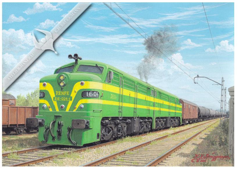 Diesellok RENFE 316 004 führt in Doppeltraktion einen Kesselwagenzug in Sevilla, 70er Jahre