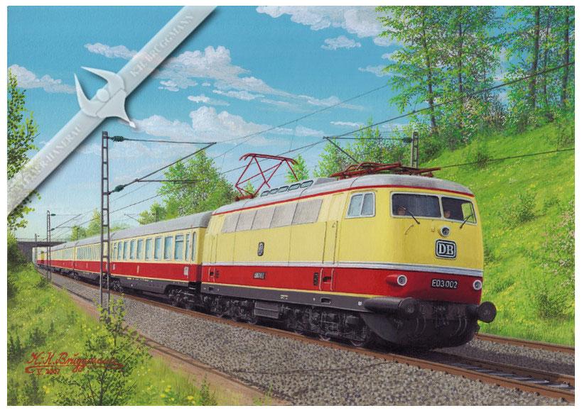 E-Lok DB E 03 002 mit TEE-Zug München - Hamburg in den 60ern, Aquarell
