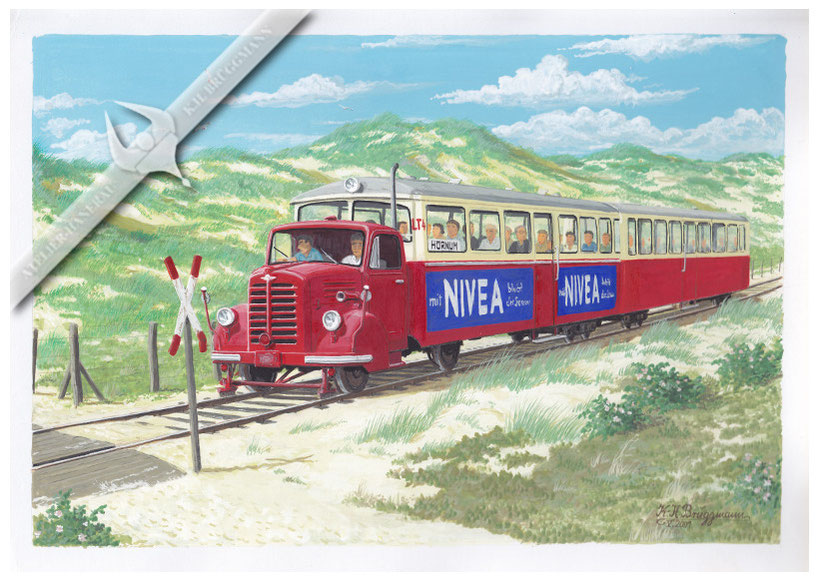 Borgward LT 4 der Sylter Inselbahn auf der Fahrt nach Hörnum, 1964, Aquarell