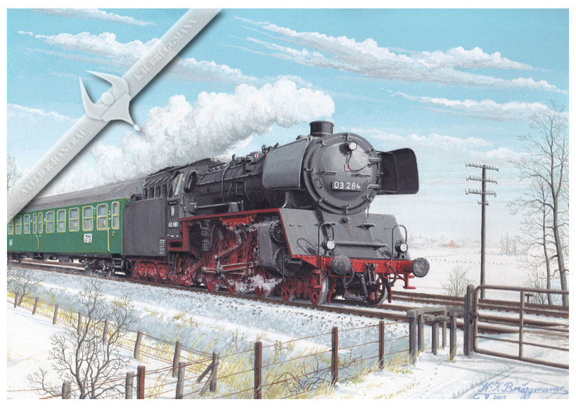 03 284 mit Eilzug Hamburg - Westerland,1959, Aquarell