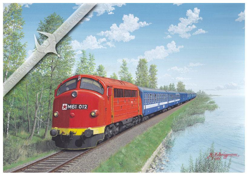 NOHAB Diesellok, MAV M 61 012 am Balaton 1987, Aquarell.