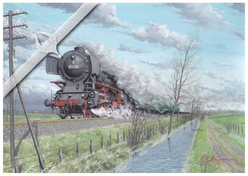 Sturm über der Marschbahn, 01 1081 mit Eilzug Hamburg-Westerland vor Glückstadt 1967,Aquarell.